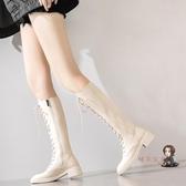 膝上靴 長靴女過膝中筒高筒長筒靴白色靴子女2020年新款騎士靴瘦瘦靴