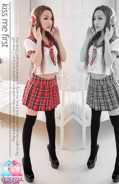 【愛愛雲端】格紋海軍領!三件式 學生 角色扮演服 R8NA14030021