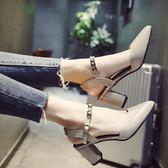 女新款韓版百搭粗跟包頭高跟鞋一字帶女士羅馬鞋子  遇見生活