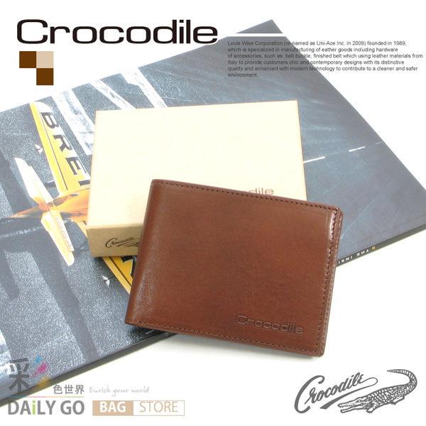 Crocodile鱷魚皮夾真皮短夾男夾皮包-短皮夾0103-58072咖啡