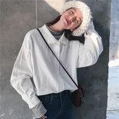 學院風泡泡袖寬鬆翻領長袖白色襯衫