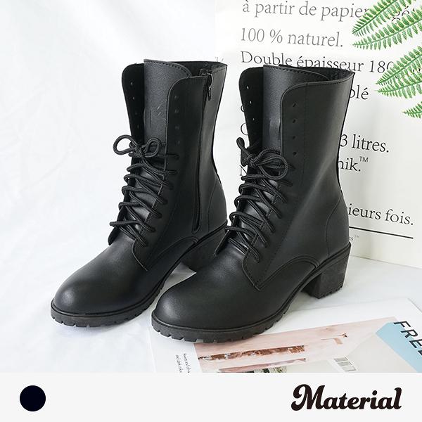 中長靴 個性綁帶中跟短靴 MA女鞋 T1857