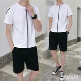 休閒套裝男 2019新款韓版潮帥氣休閒短袖五分褲兩件套 QW2046『俏美人大尺碼』