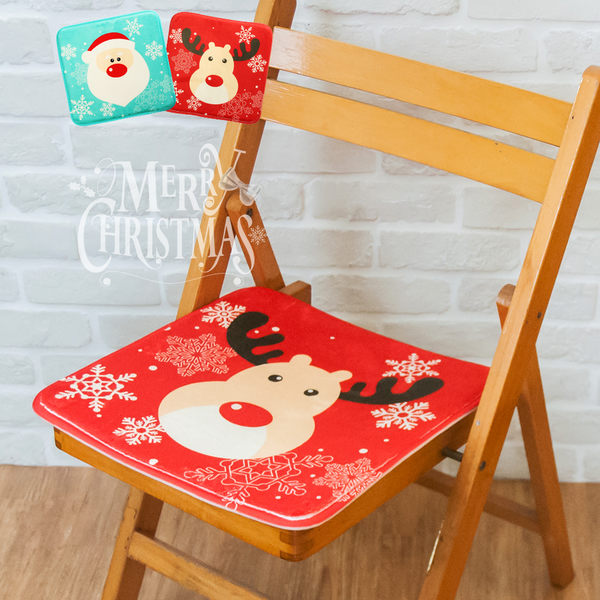 坐墊 椅墊 聖誕交換禮物 可愛聖誕造型 彈力棉法蘭絨聖誕造型坐墊【E006】
