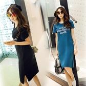 【免運】韓版夏季寬鬆大碼長款字母休閒圓領短袖顯瘦t體恤裙女裝學生