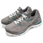 Asics 慢跑鞋 Gel-Nimbus 20 D Wide 灰 綠 白底 避震穩定 女鞋 運動鞋【PUMP306】 T851N020
