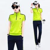 高爾夫衣服女運動套裝夏季高爾夫短袖t恤休閒長褲golf球衣兩件套   初見居家
