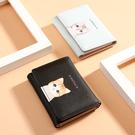 女生韓版短款短夾卡包 日韓多卡位簡約皮夾 卡通可愛多功能短款零錢包 小貓女士短款短夾卡包