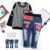 星星織帶口袋綜合款牛仔長褲(3款)(240047)★水娃娃時尚童裝★