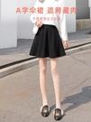 針織短裙女秋冬季小個子外穿a字大碼胖mm遮胯顯瘦高腰百褶半身裙