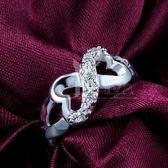 925純銀戒指鑲鑽-愛心造型生日情人節禮物女配件73at33【巴黎精品】