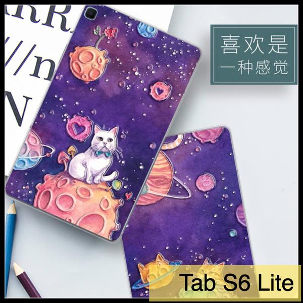 【萌萌噠】三星 2020年 Tab S6 Lite (10.4吋) P610/P615 可愛卡通彩繪乖粉貓咪 全包防摔軟殼 平板殼