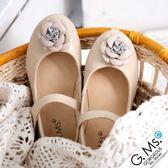 G.Ms. 童鞋‧浪漫甜心‧經典山茶花‧柔軟彎折牛皮娃娃鞋 * 奶油杏米