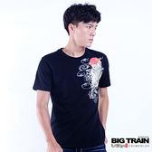 BIG TRAIN 浪濤鯉魚短袖T-男-黑色