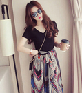 韓版V領連衣裙(黑色)