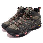 Merrell 戶外鞋 Moab 2 Mid GTX 灰 綠 Vibram 大底 高筒 女鞋 健行 登山鞋【PUMP306】 ML41094
