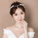 限定款新品(免運)新娘造型頭飾韓式髮箍眉心墜額飾耳環婚紗結婚森系仙美飾品女
