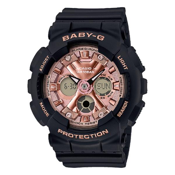 CASIO 卡西歐 手錶專賣店 BABY-G CASIO BA-130-1A4 風格時尚雙顯女錶 黑紅 樹脂錶帶 防水100米