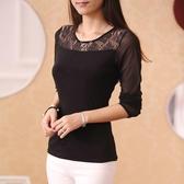 蕾絲打底衫女長袖T恤秋冬新款韓版修身百搭黑色薄款網紗上衣 韓國時尚週