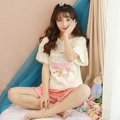 睡衣女夏棉質短袖正韓學生甜美可愛夏天棉質短褲兩件套家居服套裝