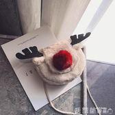 聖誕禮物毛毛包ins超火小包包女新款可愛毛毛馴鹿小方包圣誕百搭側背斜背包 愛麗絲