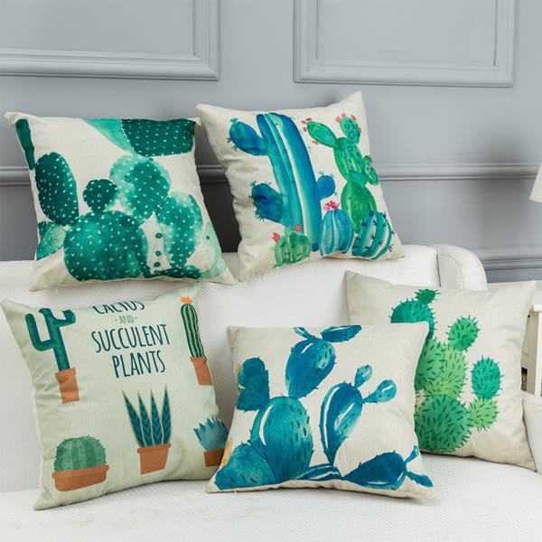 【BlueCat】仙人掌系列棉麻抱枕腰枕套 枕頭套
