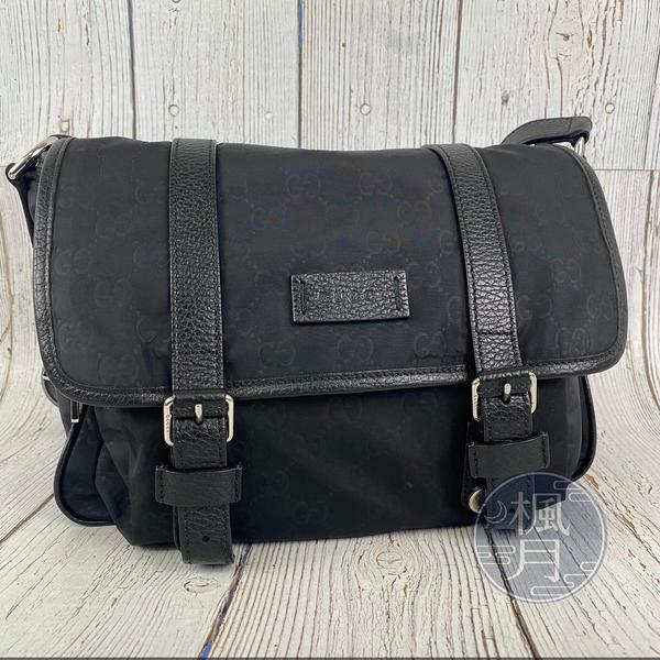 BRAND楓月 GUCCI 古馳 510335 黑色GG紋 經典尼龍 翻蓋 肩背包 側背包 郵差包