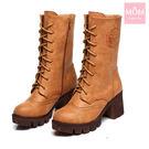 英倫學院風復古雕花綁帶擦色馬丁靴 中筒靴 機車靴 棕 *MOM*
