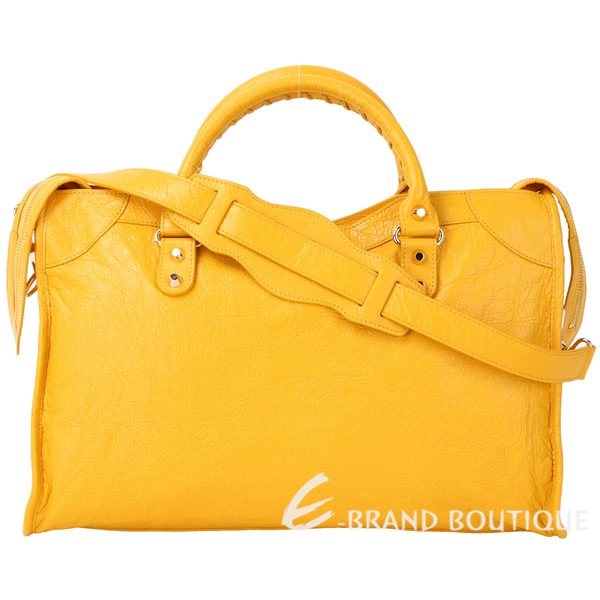 [ NG大放送 ]BALENCIAGA Classic Gold City 黃色羊皮金釦機車包 1790135-66