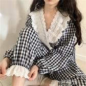 早秋韓版小清新甜美蕾絲V領減齡格子長袖襯衫女睡衣睡褲兩件套裝 一米陽光