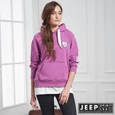 【JEEP】女裝 美式休閒假兩件式長袖帽TEE (紫紅)