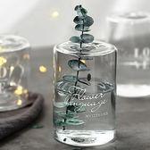 簡約印花小孔玻璃花器透明水培玻璃花瓶幹花香薰瓶 童趣潮品