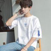五分袖T恤短袖男韓版潮流學生百搭寬鬆個性5分上衣服男裝新款