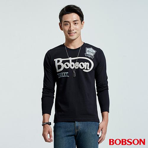 BOBSON 男款Logo修身長袖黑色上衣 (35017-88)
