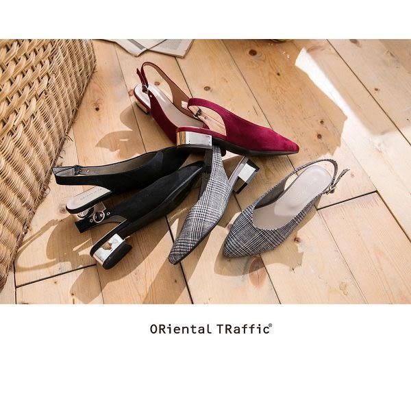 【ORiental TRaffic】V口金屬圓環繫帶銀跟鞋-格紋灰