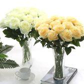 仿真玫瑰花束單支假花塑料花絹花家居臥室