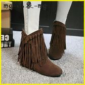 流蘇短靴-女鞋磨砂平底短靴女內增高流蘇靴短筒靴子女大碼棉鞋