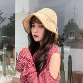 帽子女夏天韓版簡約蝴蝶結草帽小清新百搭度假沙灘帽可折疊遮陽帽