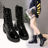 韓版新款馬丁靴中筒皮靴時尚女鞋系帶瘦瘦靴短靴子厚底 黛尼時尚精品