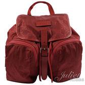 茱麗葉精品 全新精品 GUCCI 510343 經典雙G緹花尼龍扣式後背包.紅
