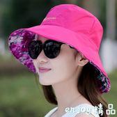 2018新款韓版潮春夏季女士太陽帽戶外防曬帶鋼圈遮陽可折疊布帽子  enjoy精品
