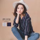 PUFII-襯衫 V領條紋配色圖騰雪紡襯衫 2色- 0315 現+預 秋【ZP13370】