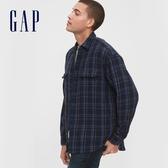 Gap男裝 創意格紋設計拉鍊翻領襯衫 619447-海軍藍格紋