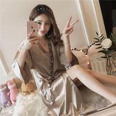 睡袍女春秋夏季睡裙女日式和服性感寬松睡衣冰絲半袖系帶女士浴袍