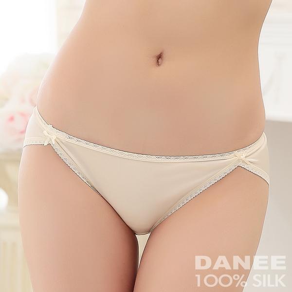 【岱妮蠶絲】LA0028E純蠶絲42針70G雙蝴蝶結低腰高衩內褲(膚色)