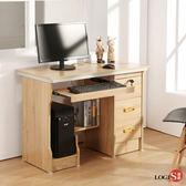 桌 LOGIS實惠附主機架三抽電腦桌1M 書桌 多用途 租屋族 學生書桌 木紋桌 LS-101