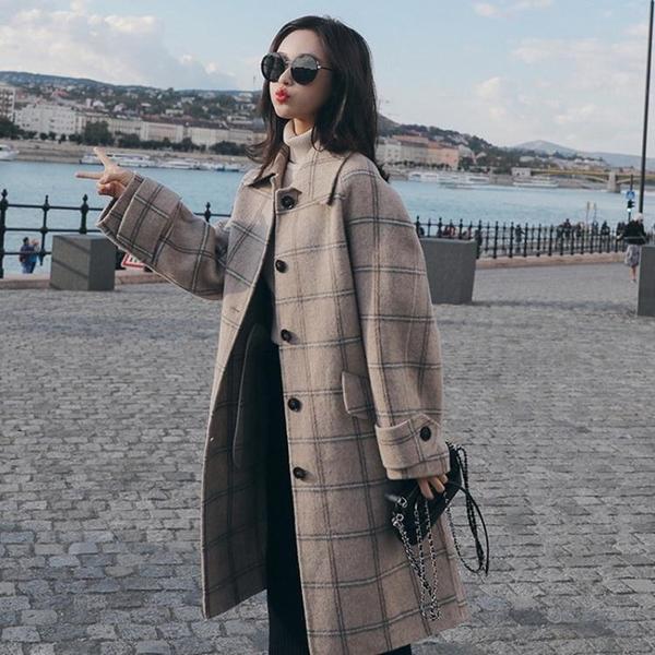外套 长袖 百搭外套格子毛呢外套女設計感小眾時尚氣質流行洋氣呢子大身NE68-A1 胖妞衣櫥