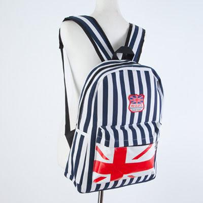 SINGLE單眼皮女孩 簡約直條紋搭前國旗拉鍊袋設計雙側邊袋內筆電夾層可放A4帆布後背包