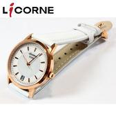 【萬年鐘錶】 LICORNE 力抗 entree  白蝶背錶面 日期  白皮錶帶 LT055LRWW-R