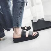正韓夏季潮流情侶壹字拖個性防滑平底潮男鞋子休閒浴室沙灘涼拖鞋月光節